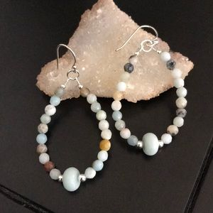 Amazonite gemstone earring sterling silver hook
